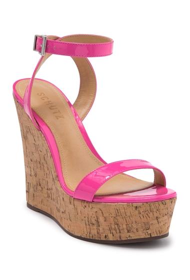 Incaltaminte Femei Schutz Eduarda Platform Wedge Patent Leather Sandal NEON PINK