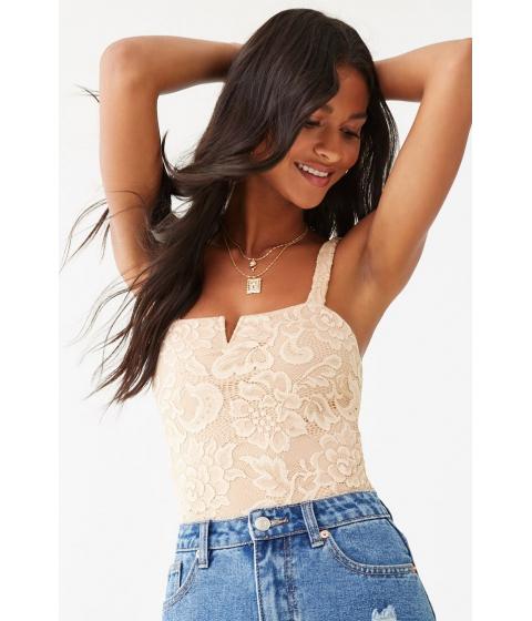 Imbracaminte Femei Forever21 Floral Lace Bodysuit NUDE