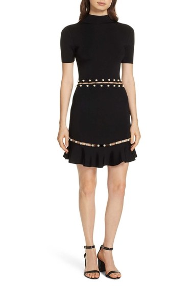Imbracaminte Femei Alice Olivia Evelyn Embellished Fit Flare Dress BLACK