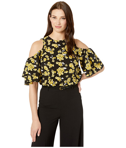 Imbracaminte Femei MICHAEL Michael Kors Glam Painterly Flare Top BlackGolden Yellow