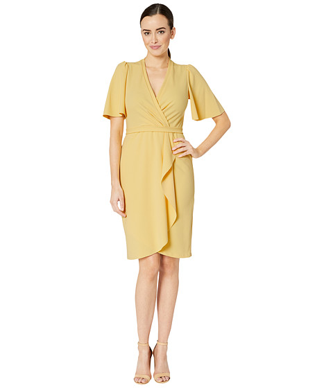 Imbracaminte Femei Donna Morgan Crepe Faux Wrap w Flutter Sleeve Daffodil