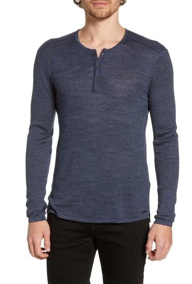 Imbracaminte Barbati John Varvatos Star USA Sean Long Sleeve Linen Blend Henley OFFICER BLUE