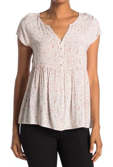 Imbracaminte Femei Caslon Short Sleeve Swing Blouse Ivory- Pink Painted Texture image0