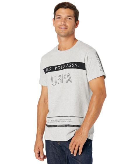 Imbracaminte Barbati US POLO ASSN Short Sleeve USPA Color-Block Tee Light Heather Grey image0