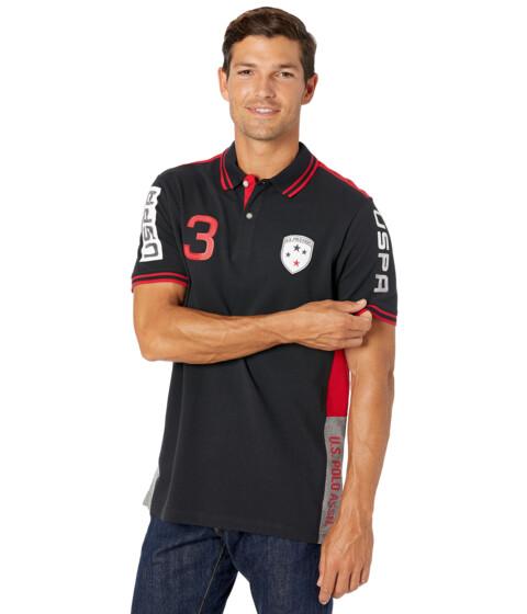 Imbracaminte Barbati US Polo Assn Short Sleeve Patch 3 Color-Block Pique Polo Shirt Black image0