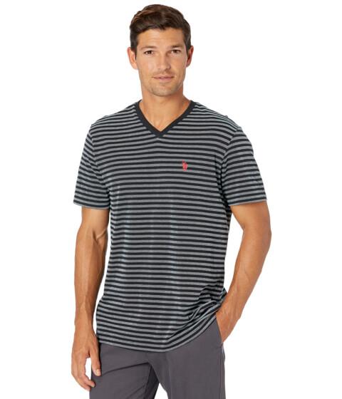 Imbracaminte Barbati US POLO ASSN Short Sleeve Birdseye Stripe V-Neck Tee Black image0