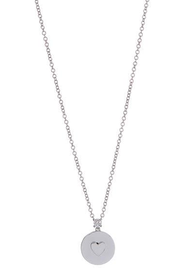 Bijuterii Femei EF Collection 14K White Gold Prong Set Diamond Heart Disc Necklace - 006 ctw 14k White Gold image0