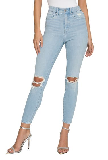 Imbracaminte Femei Good American Good Waist Ripped Ankle Skinny Jeans Blue635 image0