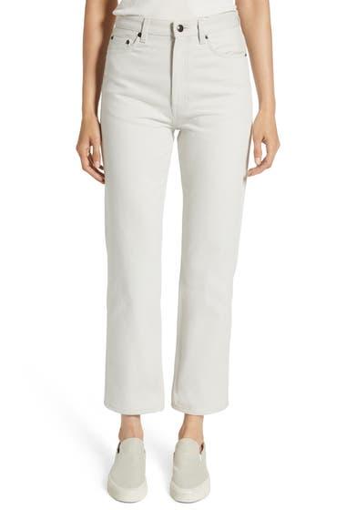 Imbracaminte Femei THE ROW Christie High Waist Crop Straight Leg Jeans Light Grey image0