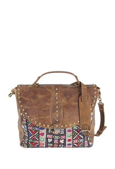 Genti Barbati Vintage Addiction Studded Leather Vintage Fabric Messenger Bag Chocolate image0