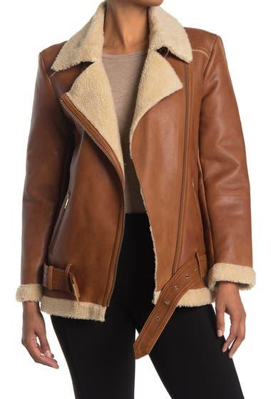 Imbracaminte Femei Rebecca Minkoff Sienna Oversized Faux Fur Collar Leather Moto Jacket Brown image0