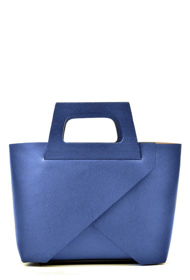 Genti Femei Carla Ferreri Leather Tote Bag Blu Jeans image0