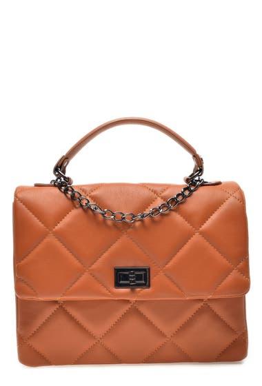 Genti Femei Carla Ferreri Leather Quilted Handbag Cognac image0