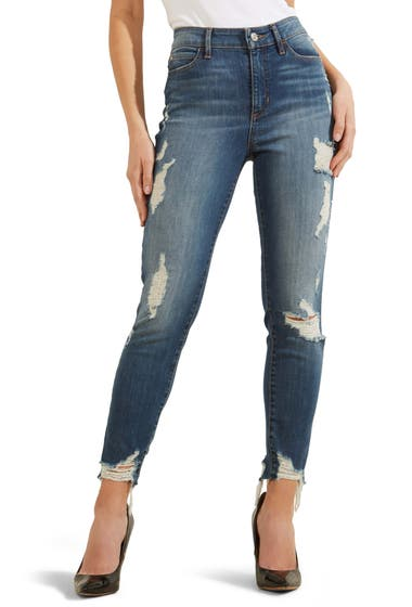 Imbracaminte Femei GUESS 1981 Destroyed Hem Ankle Skinny Jeans Dorsette Wash image0