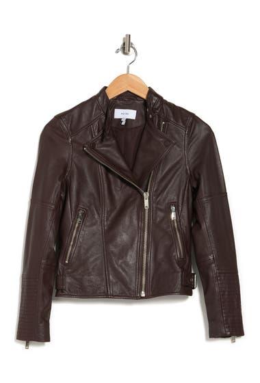 Imbracaminte Femei REISS Tallis Crop Leather Biker Jacket Plum image0