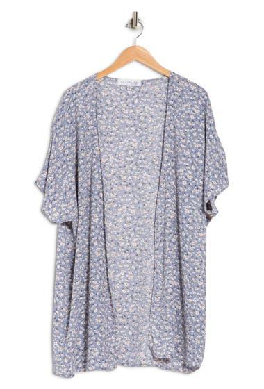 Imbracaminte Femei SOCIALITE CURVE SOCIALITE Printed Open Front Duster Kimono Blue Floral image0