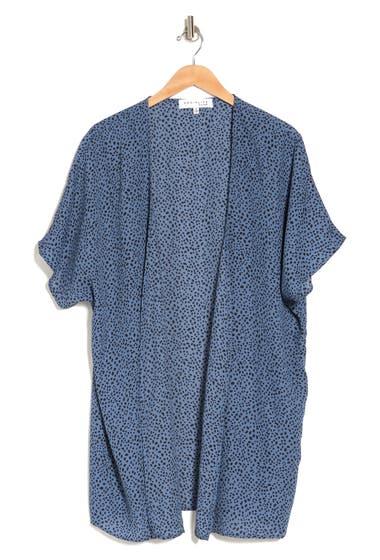 Imbracaminte Femei SOCIALITE CURVE SOCIALITE Printed Open Front Duster Kimono Blue Indigo Black Dot image0