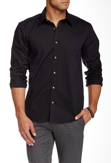 Imbracaminte Barbati Lindbergh Solid Long Sleeve Slim Fit Shirt BLACK