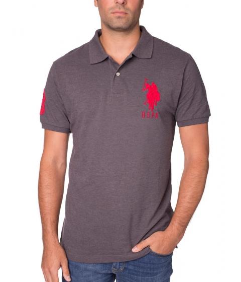 Imbracaminte Barbati US Polo Assn Pique Mesh Big Logo Polo Shirt Heather Dark Gray