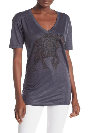 Imbracaminte Femei Go Couture Slub V-Neck Pocket T-Shirt CHARCOAL ELEPHAN MOTIF