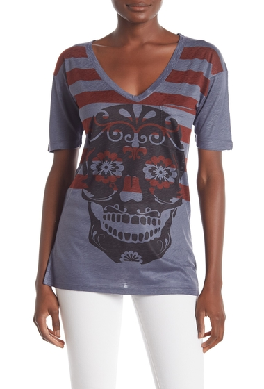 Imbracaminte Femei Go Couture Slub V-Neck Pocket T-Shirt RED STRIPE FLORAL SKULL