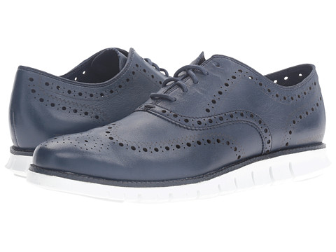 Incaltaminte Barbati Cole Haan Zerogrand Wing Ox Black Iris Glove Open Holes LeatherWhite Leather