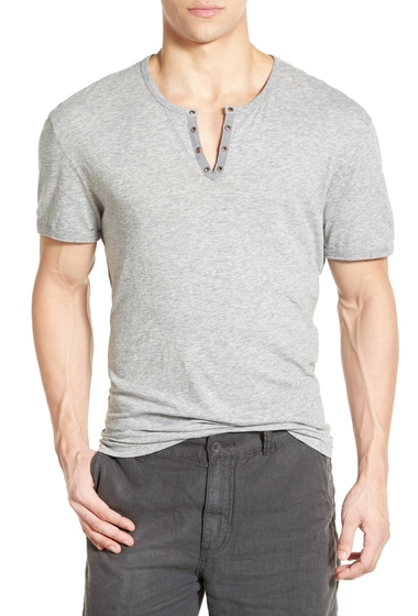 Imbracaminte Barbati John Varvatos Star USA Eyelet Neck Henley GREY HEATHER
