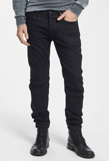 Imbracaminte Barbati HUDSON Jeans Blinder Skinny Fit Moto Jeans RAW BLACK