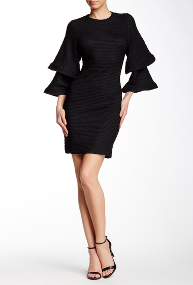 Imbracaminte Femei Gracia Structured Tiered Bell Sleeve Dress BLACK